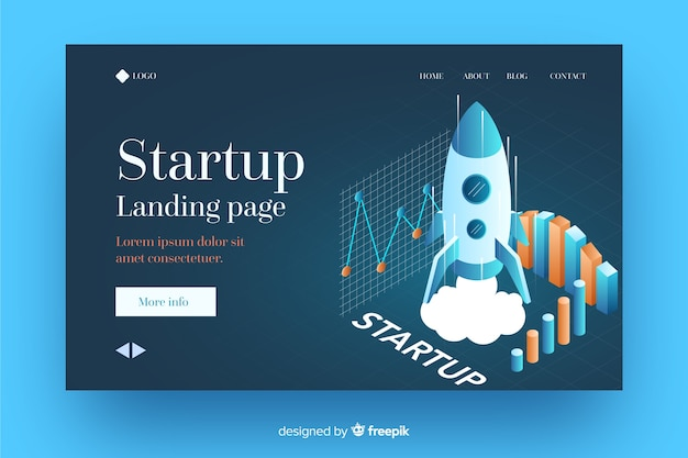 Isometric startup landing page