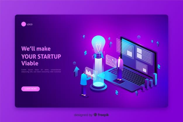 Isometric startup landing page