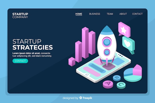 Isometric startup strategies landing page