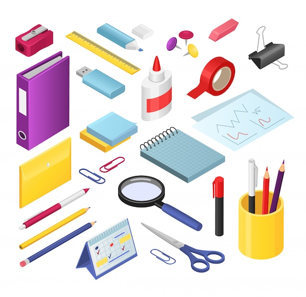 Isometric stationery  illustration set, cartoon  office or school stationery tools supplies, pen or marker pencil, rubber, sharpener