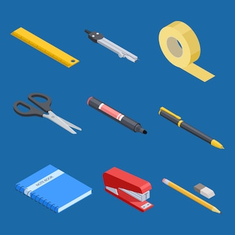 Isometric stationery and office tools set