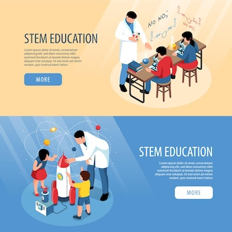 Isometric stem banners collection with classroom scientific experiments and human characters