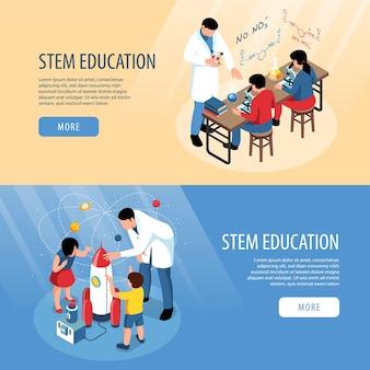 Collezione di banner staminali isometrici con esperimenti scientifici in classe e personaggi umani