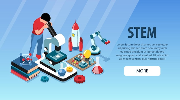 Isometric stem horizontal banner with more button editable text and composition of educational and scientific objects