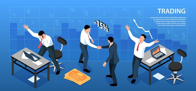 Isometric stock market exchange trading horizontal composition with currency signs and traders workplaces with text  illustration