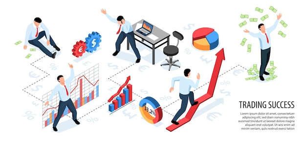 Isometric stock market exchange trading horizontal infographics with composition of signs symbols and people with text  illustration