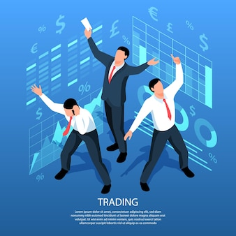 Isometric stock market exchange trading illustration with composition of holographic signs diagrams and traders human characters