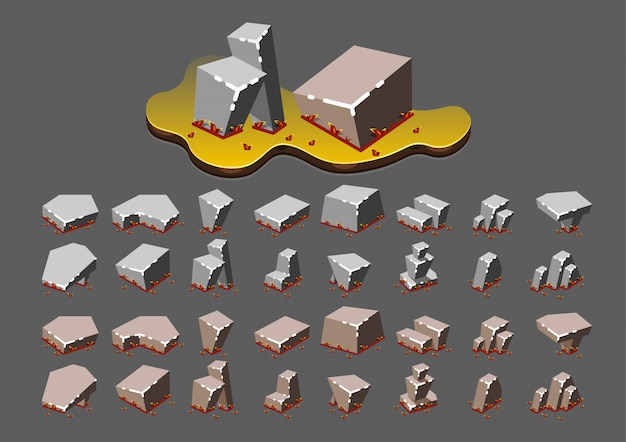 Isometric stones in the autumn for video games