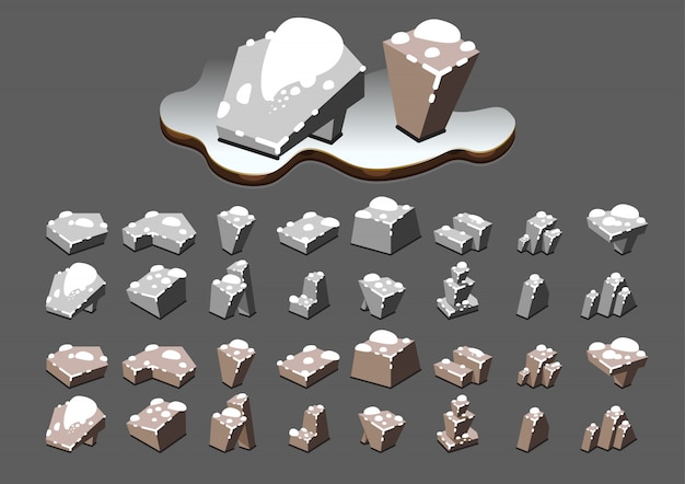 Isometric stones at winter for video games