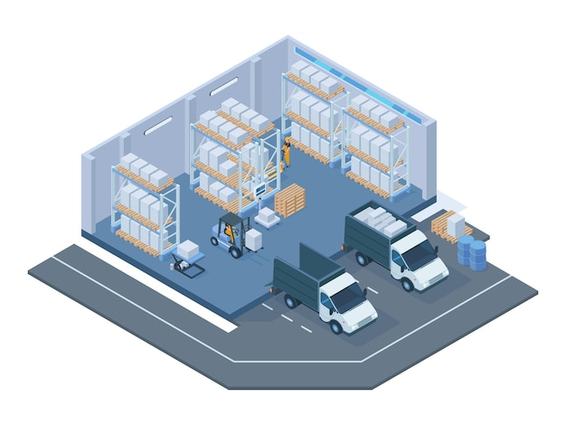 Isometric storage building, modern warehouse interior. storage forklift trucks, pallet trolley, shelves and delivery lorry vector illustration. warehouse buildings interior. building warehouse