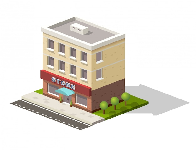 Isometric store building with street view