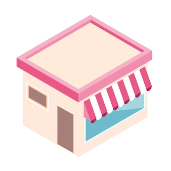 Isometric store in flat style isolated.