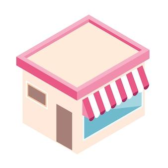 Изометрические магазин в плоском стиле изолированы.