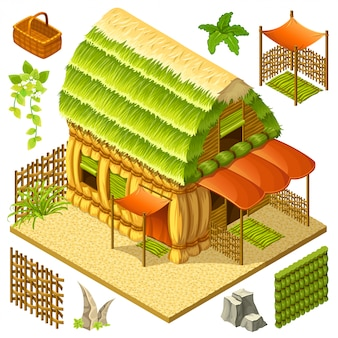 Isometric straw cottage with wicker fence.