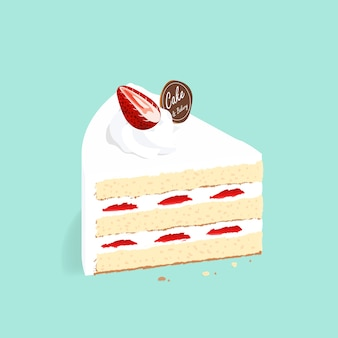 Isometric strawberry cake vector