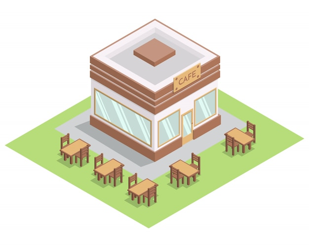 Isometric street 3d cafe building