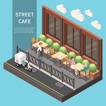 Изометрические уличное кафе баннер