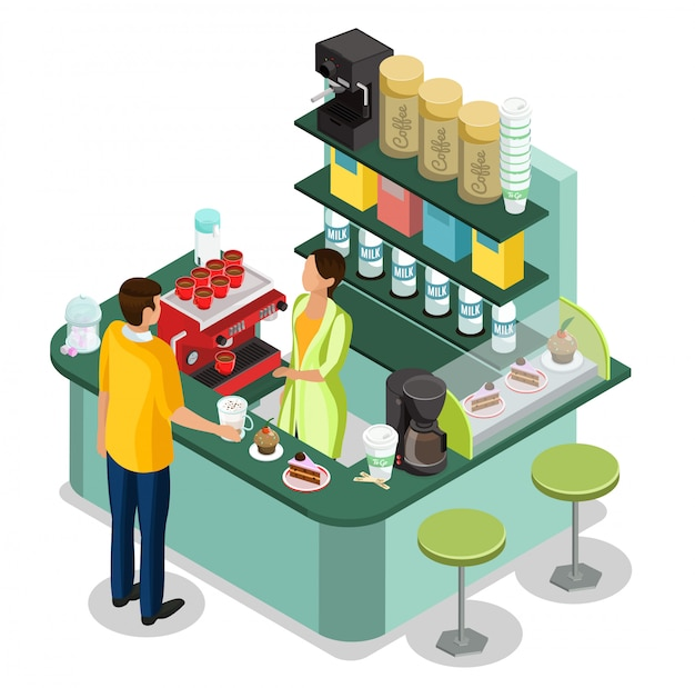 Концепция изометрической уличной кофейни с барристером за стойкой и покупателем, покупающим горячие напитки и десерты