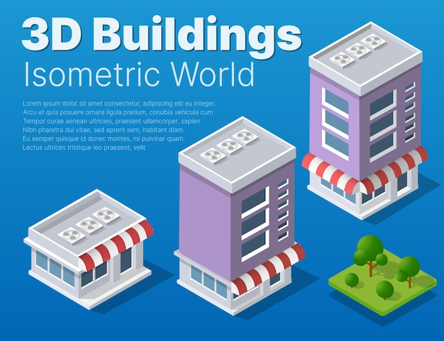 Isometric street district part of the city with an outdoors road buildings.