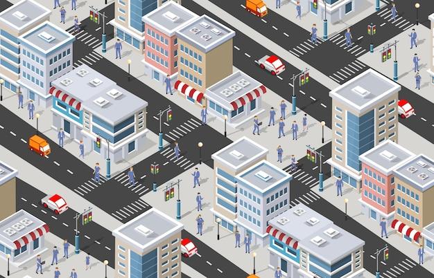 屋外の道路の建物がある街の等尺性のストリート地区の一部。