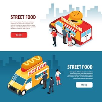 Isometric street food banners set with cityscape backgrounds human characters and food truck vans with text