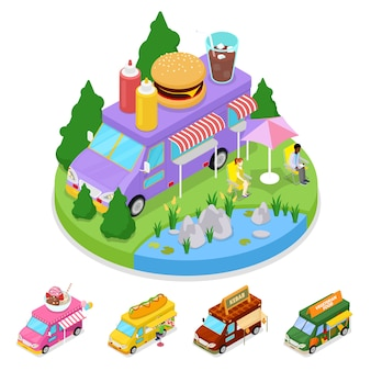 Isometric street food burger truck with people.