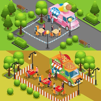 Isometric street food horizontal banners