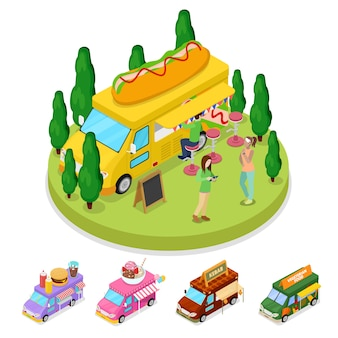 Isometric street food hot dog truck with people
