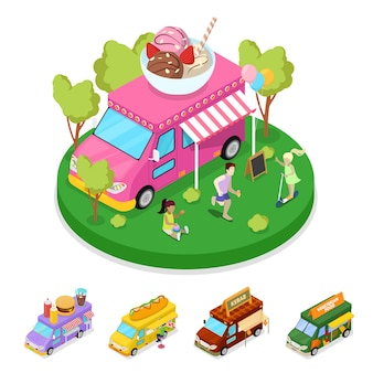 Isometric street food ice cream truck with people