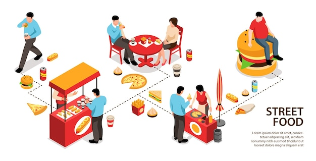 Isometric street food infographics with and isolated food