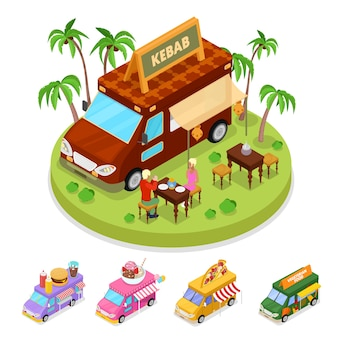 Isometric street food kebab truck with people