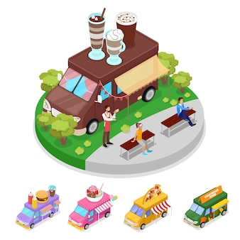 Isometric street food truck cafe with people