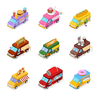 Isometric street food truck set with vegeterian food