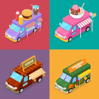 Isometric street food trucks with vegeterian food