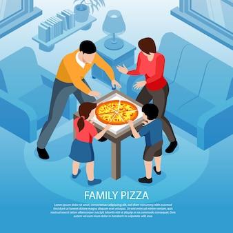 실내 국내 풍경과 피자 상자가있는 가족 구성원의 캐릭터가있는 등각 투영 거리 음식