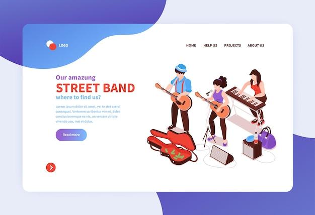 画像テキストとクリック可能なリンクを備えたアイソメトリックストリートミュージシャンコンセプトウェブサイトランディングページテンプレート