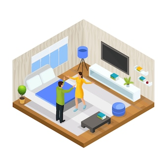 Isometric stress in family concept with husband is arguing with his wife at home isolated