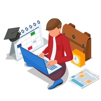 Isometric student do online learning at computer laptop. vector