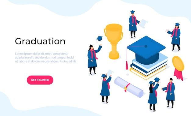 졸업 가운과 모타보드를 입은 아이소메트릭 학생들은 졸업을 축하합니다. 2021년 수업. 학교, 전문대학 또는 종합대학 졸업