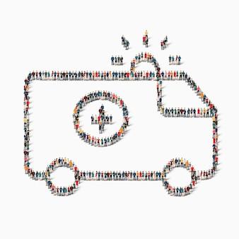 아이소 메트릭 스타일 구급차 의학 웹 인포 그래픽 개념