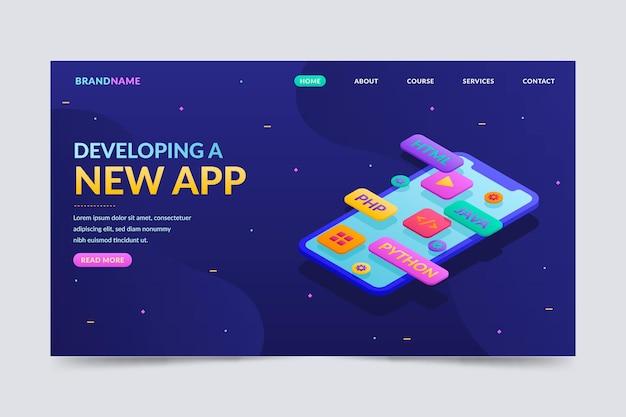 Pagina di destinazione per lo sviluppo di app in stile isometrico
