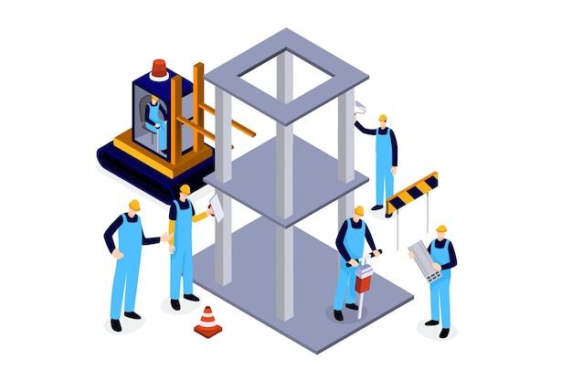 Инженеры изометрического стиля, работающие над строительством