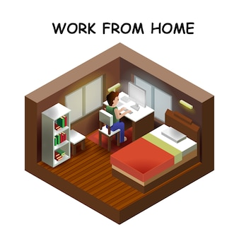 Isometric style home indoor interioropen transparent ceiling, creative architecture info graphic, work from home
