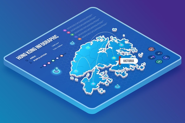 Isometric style hong kong map infographics