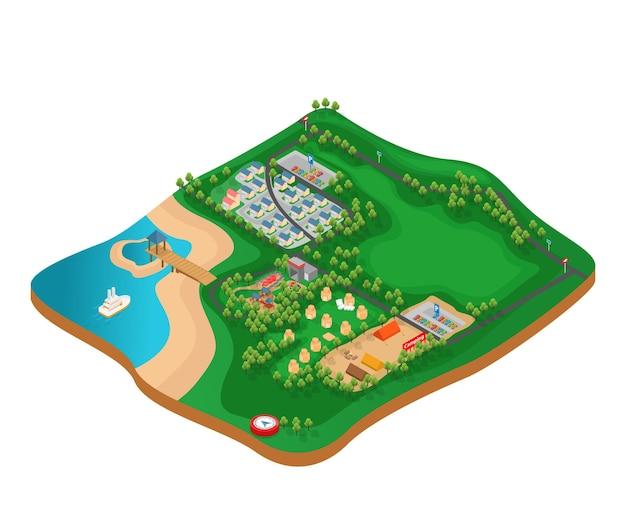駐車場と屋外ゲームのあるキャンプ場の地図についての等角投影図