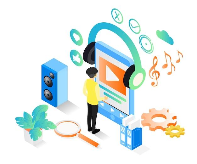 스마트폰에서 음악이나 비디오를 듣는 사람에 대한 아이소메트릭 스타일 그림