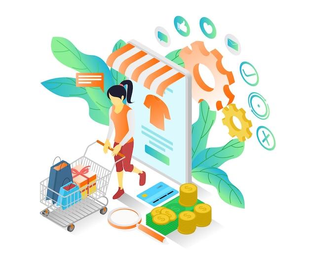 スマートフォンのオンラインストアで買い物をしている女性についてのアイソメトリックスタイルのイラスト
