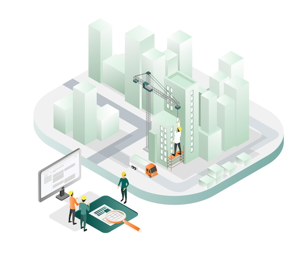 Isometric style illustration about architect and team working supervising the field