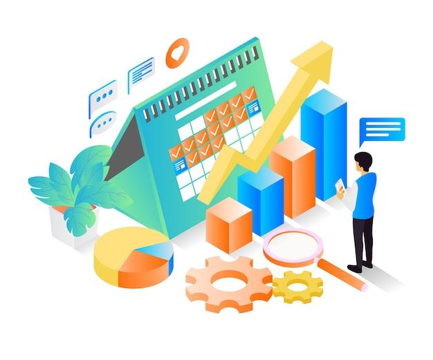 Изометрический стиль иллюстрации о бизнес-графике для достижения успеха