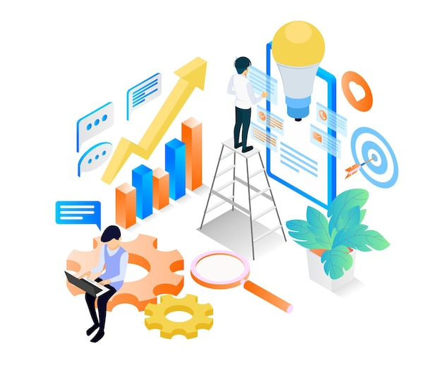 Isometric style illustration about a content creator with his creative ideas